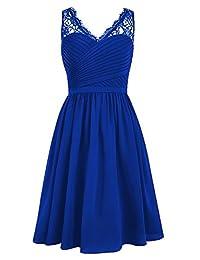 MaliaDress Womens V Neck Straps Chiffon Lace Short Bridesmaid Dress M299LF