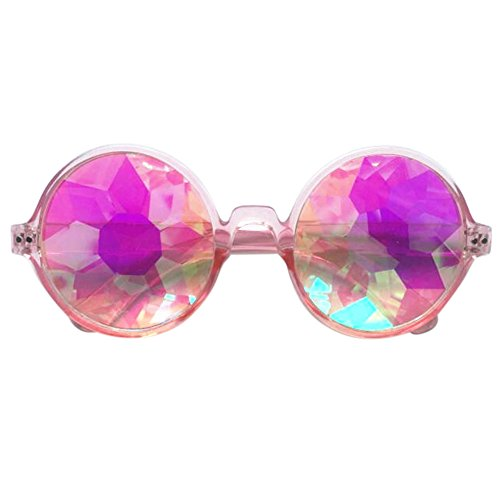 rétro de de de lunettes soleil de pink rondes Colour de Lunettes uniques kaléidoscope Cosplay xqwYHHPT