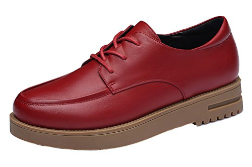 YASILAIYA Women's Oxfords Flats Leather Lace Up Work Shoes Red 8.5M US by YASILAIYA
