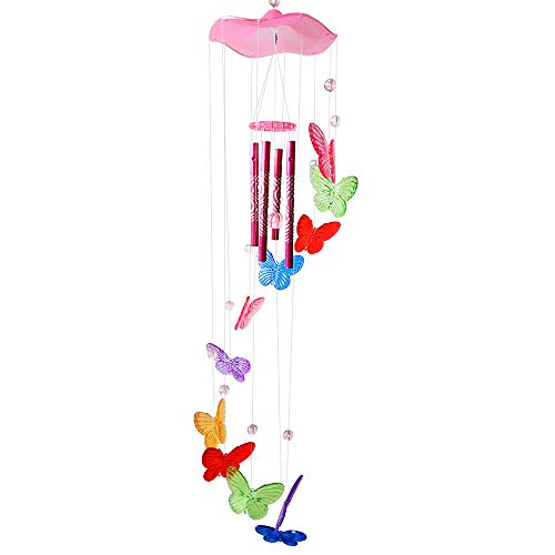 (PROMISE YO Butterfly Wind Chimes Indoor, Plastic Wind Chimes Bright Wind Catcher Fairy Windchime Indoor Chimes for Home, Room, Door, Window, Wall Décor (Colorful Butterfly - Pink Cap))