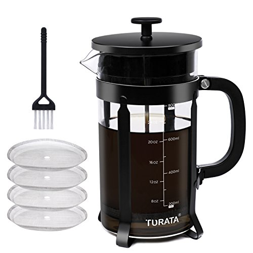 French Press Coffee Maker TURATA French Press Kit Machine 4 Stainless Steel Filter with Scale Line and Brush Best Gift 8 Cup 34 Oz (1L)