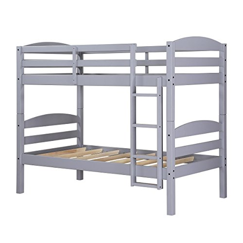 Gray Solid Wood Construction Twin Over Twin Wood Bunk Bed Features Guard Rails On The Top Bunk And An Integrated 4-Step Ladder For Safety, Dimensions ()