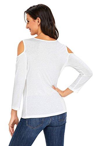 Blanc NEUF asymétrique drapé froid épaule Pull Chemisier de soirée pour femme Tenue décontractée d'été Taille UK 8EU 36