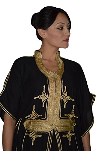 Moroccan Caftan Hand Made Breathable Cotton with Gold Hand Embroidery Long Black by Moroccan Caftans (Image #1)