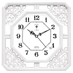 Y-Hui Wall Clock Classic Clock Carved Exposed Living Room Bedroom Mute Quartz Clock, 8-Inch, White White Square Side Length 32.5