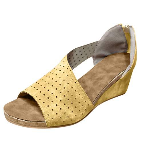 RAINED-Women Peep Toe Wedge Sandals Leather Asymmetrical Beach Roman Sandals Side Cutout Sandals Slip On Slides Loafers ()