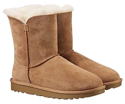 (KirklandSignature Ladies Genuine Sheepskin - Shearling Lining - Zipper Boots for Women Chestnut (7))