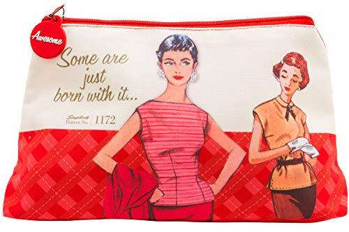 Simplicity Vintage Fashion 1950's ''Some are Just Born With it'' Red Large Zipper Pouch, 10'' L x 5.25'' H