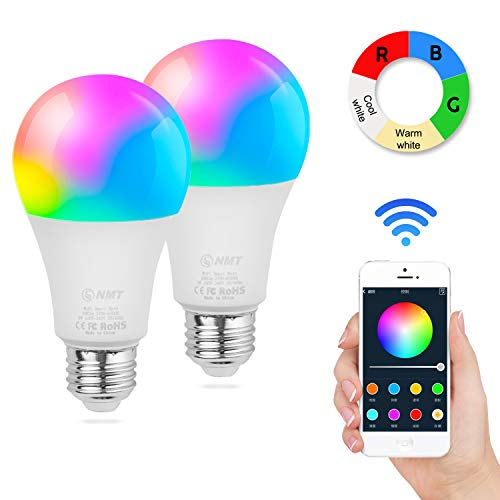 Cheap E26 Smart Light Bulb, Wi-Fi RGB CCT Lamp Works with Amazon Alexa and Google Home Assistant, Color Changing Tunable Dimmable Bulb, with Timer Function, Cellphone Control Safety Home Bulb, 2 Pack