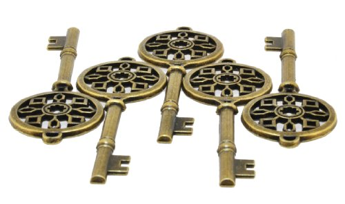 Hinky Imports Wholesale Lot of 5 Large Skeleton Key Charms with Antique Brass Finish ()