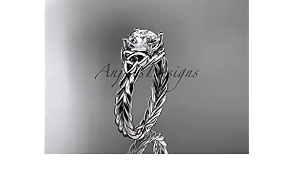 Amazon Com Celtic Engagement Ring 14k White Gold Ring Celtic Triquetra Wedding Ring Anniversary Ring Women S Wedding Ring Unique Ring Handmade
