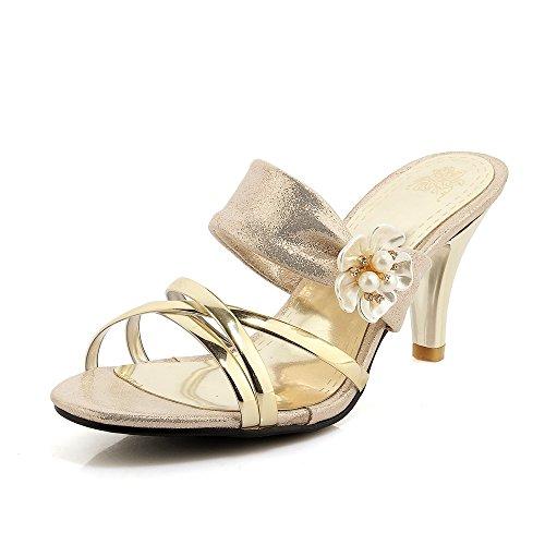Zapatos de Mujer PU Summer Comfort Slingback Zapatillas y Chanclas Zapatos para Caminar Tacón de Aguja Open Toe para Vestido Casual Fiesta y Noche Un
