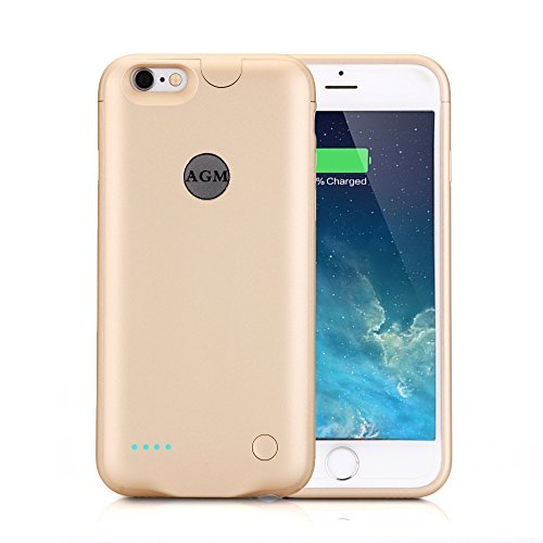 AGM Rechargeable Ultra Slim External Charging Battery Case for iPhone 6 / 6s (4.7 inch) with 2500mAh Capacity (gold)