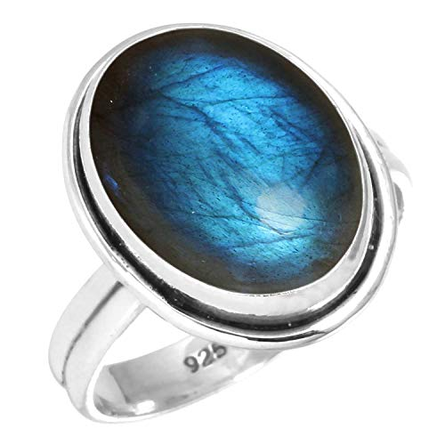 925 Sterling Silver Women Jewelry Natural Labradorite Ring Size 8 from Jeweloporium