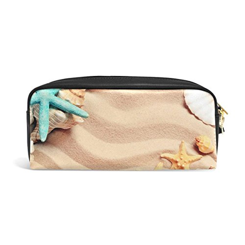 Pencil Case Summer Beach Starfish Seashell on The Sand Big Stationery Holder Cosmetic Bag with Zip Art Colored Pen Pouch for Kids Girls Boy (1 Pack)