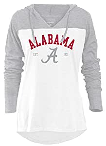 NCAA Alabama Crimson Tide Women's Color Block Long Sleeve Hoodie, Small, Athletic Heather