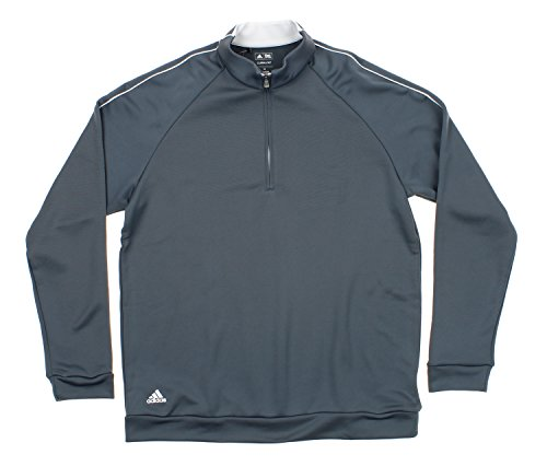 Adidas Men's Performance Quarter Zip Pullover Sweater, Grey/White X-Large (Adidas Quarter Pullover Zip)