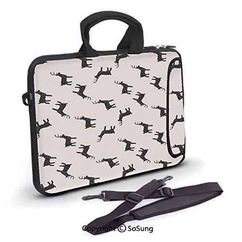 17 inch Laptop Case,Deer Doodle Joyful Childish Art December Seasonal Decoration Elements Srt Neoprene Laptop Shoulder Bag Sleeve Case with Handle and Carrying & External Side Pocket,for Netbook/MacBo