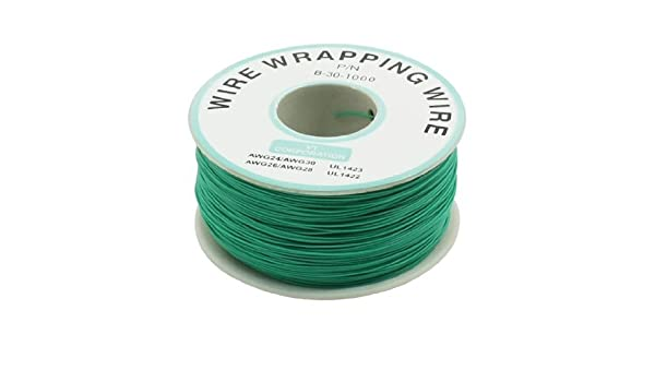 Amazon.com: eDealMax P/N B-30-1000 Insulated PVC recubierto 30AWG Wire Wrapping Bobina de 200 metros Verde: Electronics