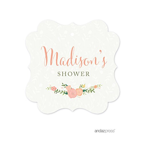 Andaz Press Floral Roses Girl Baby Shower Collection, Personalized Fancy Frame Gift Tag, Madison's Baby Shower, Your Text Here, 24-Pack, Custom Made ()