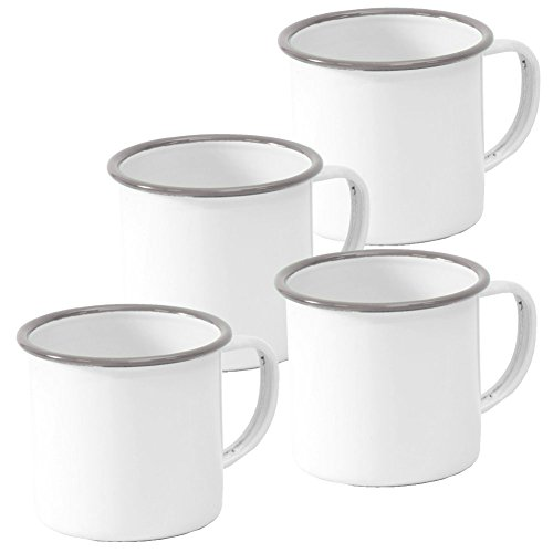 Enamelware Mug, 12 ounce, Vintage White/Grey (4)