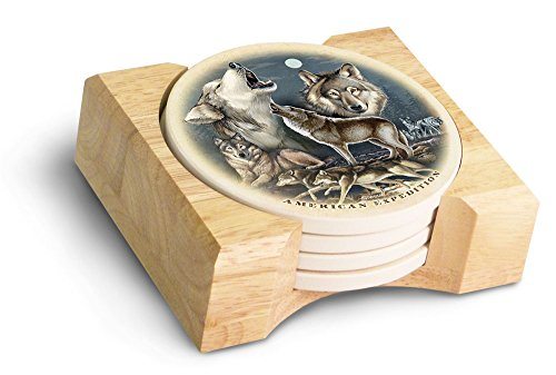 (American Expedition Gray Wolf Collage Stone Coaster Set, Multicolor)