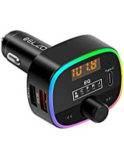 ELZO Bluetooth FM-zender voor auto, 5.0 Bluetooth-autoadapter met 10 kleuren LED-achtergrondverlichting en QC3.0 snelladen, autoradio Bluetooth-zender Ondersteuning MP3-speler, handsfree bellen, zwart