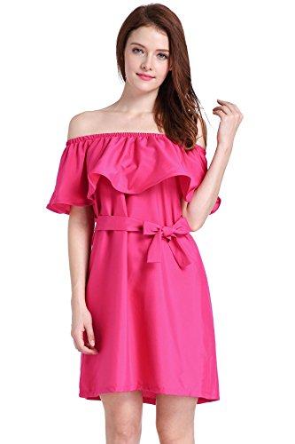 Señoras Vestido de novia Gasa y Falda corta IHRKleid® Elegante Noche Partido Club Parte superior Mini Vestidos Un tamaño Hot Pink