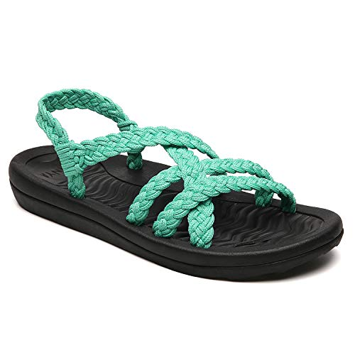MEGNYA Women's Comfortable Flat Walking Sandals with Arch Support Waterproof for Walking/Hiking/Travel/Wedding/Water Spot/Beach. 19ZDME02-W15-5 Turquoise