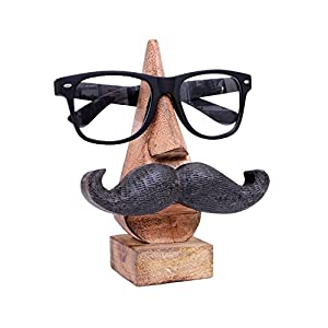 Wooden Spectacle Holder, Mustache Eyewear Holder, Nose Shaped Spec Holder, Eyewear Retainer, Sunglass Holder, Spectacle Display Stand | Handmade | ( 6 x 2 Inch )