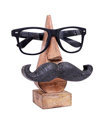 Wooden Handmade Spectacle Holder, Mustache Eyewear Holder, Nose Shaped Spec Holder, Eyewear Retainer, Sunglass Holder, Spectacle Display Stand - 6 x 2 ()