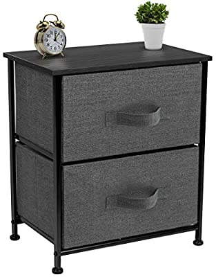 Sorbus Nightstand with 2 Drawers - Bedside Furniture & Accent End Table Chest for Home, Bedroom Accessories, Office, College Dorm, Steel Frame, Wood Top, Easy Pull Fabric Bins