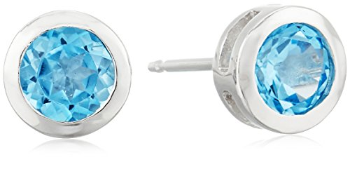 Sterling Silver Genuine Swiss Blue Topaz 5mm Bezel Set December Birthstone Stud Earrings