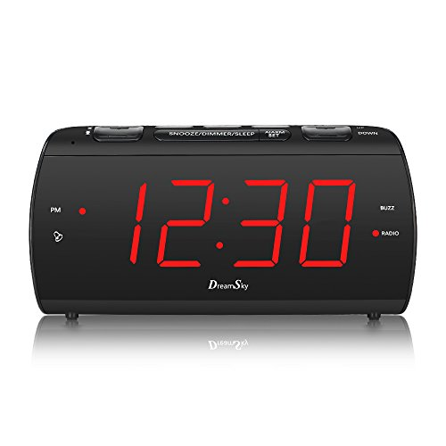 DreamSky Large Alarm Clock Radio with FM Radio and USB Port for Charging, 1.8 Inch LED Digit Display with Dimmer, Snooze, Sleep Timer, Adjustable Alarm Volume, Headphone Jack, Outlet Powered