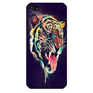 QJM Tiger Pattern Back Case for iPhone5/5S