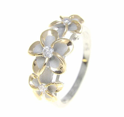 Sterling silver 925 Hawaiian 3 plumeria flower cz ring rhodium and yellow gold plated size 7