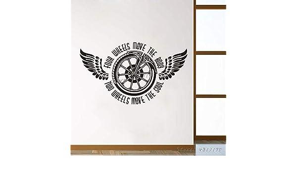BailongXiao Rueda de la Motocicleta Vinilo Etiqueta de la Pared Dos Ruedas Alma móvil Calcomanía de Pared Alas de Bicicleta Mural Garage 102x59cm: Amazon.es: Hogar
