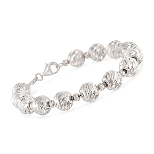Ross-Simons Italian 4mm and 10mm Sterling Silver Diamond-Cut and Polished Bead Bracelet