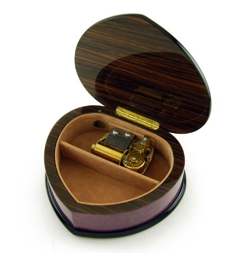 Elegant 30 Note Lavender Heart Shaped Music Jewelry Box with Floral in Heart Frame Inlay Design - Love is Blue by MusicBoxAttic (Image #2)
