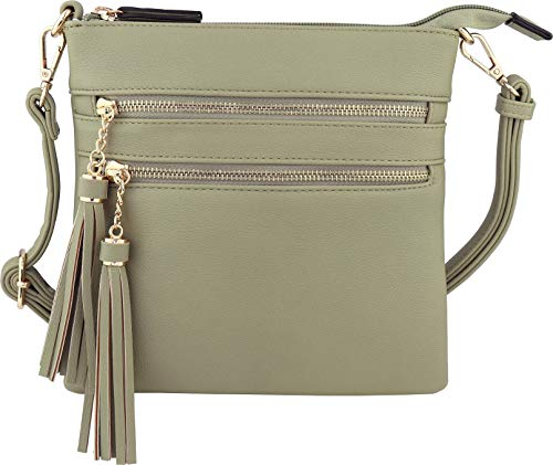 (Vegan Mini Multi-Zipper Crossbody Handbag Purse with Tassel Accents with RFID Protection (Martini Olive RF))