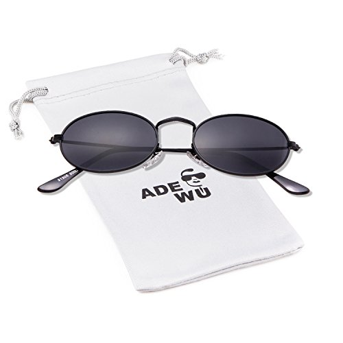 frame ovaladas redondas fino pequeñas New gafas para lens borde 1 Gafas Gafas de metal ADEWU vintage gray de mujer con sol Black qvUaZY
