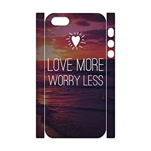 DIY Phone Case with Hard Shell Protection for Iphone 5,5S 3D case with love more worry less lxa#870030