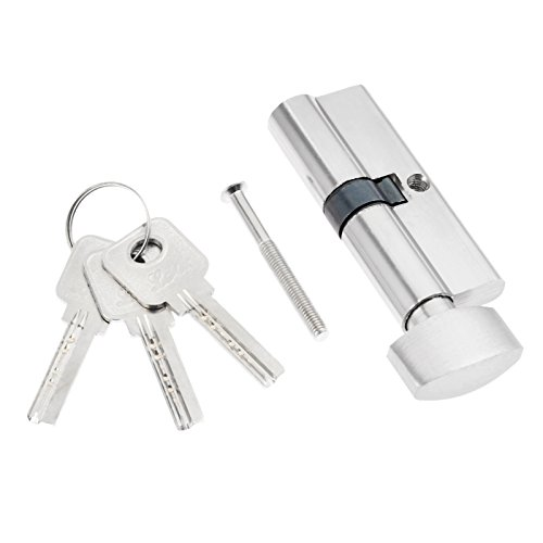 1pc Home Length Metal Anti-Theft Security Door Lock Core with 3 Keys (Silver)