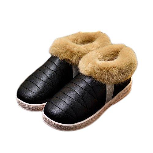 Ciabatta Da Donna Inverno Caldo Pantofola Peluche Confortevole Morbido Antiscivolo Nero