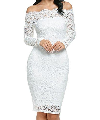 BEAUTYTALK Women's Off Shoulder Floral Lace Bodycon (Lace Tube Dress)