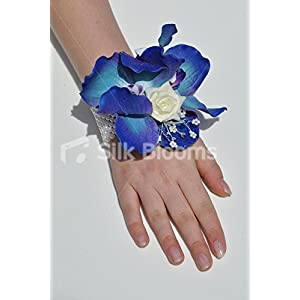 White Rose & Royal Blue Vanda Orchid Wedding Wrist Corsage 76