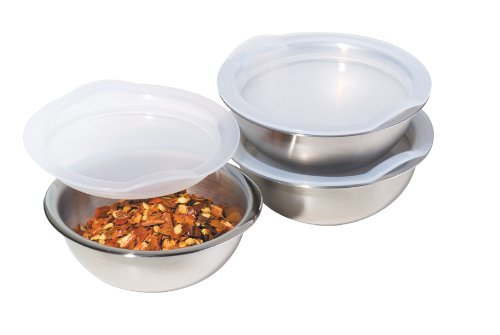 Oggi 3-Inch Diameter Stainless Steel Pinch Bowls with Airtight Lids, Set of 3
