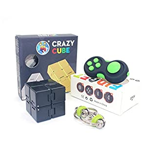 Handheld Mini Fidget Toy Set(3 Pack)-Infinity Cube,Fidget Pad Cube,Flippy Chain,Stress and Anxiety Relief For Kids Adults With OCD ADHD Autism, Unique Idea that is Light on the Fingers and Hands