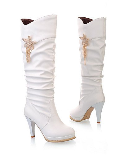 White Tacón Botas Zapatos Casual us8 Cn39 Cn3 Uk5 Semicuero A negro 5 Uk6 Beige 5 Cuñas Eu39 De Redonda Mujer Xzz Moda us7 Eu38 Stiletto Blanco Cn38 La Vestido Punta qTnO8tdxU