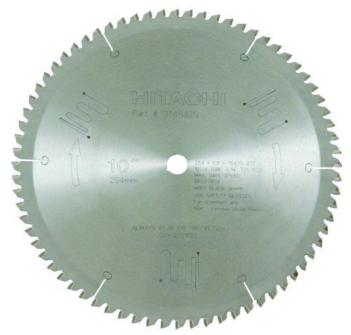 Hitachi 974642N 72-Teeth Tungsten Carbide Tipped 10-Inch TCG 5/8-Inch Arbor Finish Saw Blade